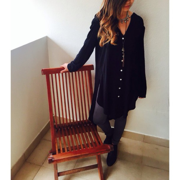 blouse tunic long black black shirt long sleeves rayon slit button down shirt shirt