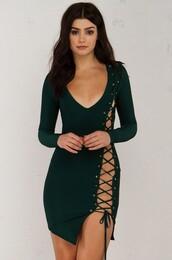 dress,bandage,lace up,deep v,sexy dress,asymmetrical,house of cb