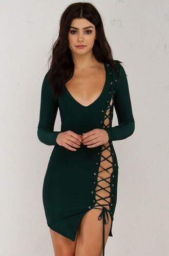 dress bandage lace up deep v sexy dress asymmetrical house of cb