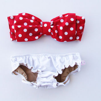 Vintage Bow Bandeau Sunsuit Bikini . DiVa Halter Neck. Red and White Polka Dot  Halter Neck top White Panties. Sexy and cute Pin up Style on Wanelo