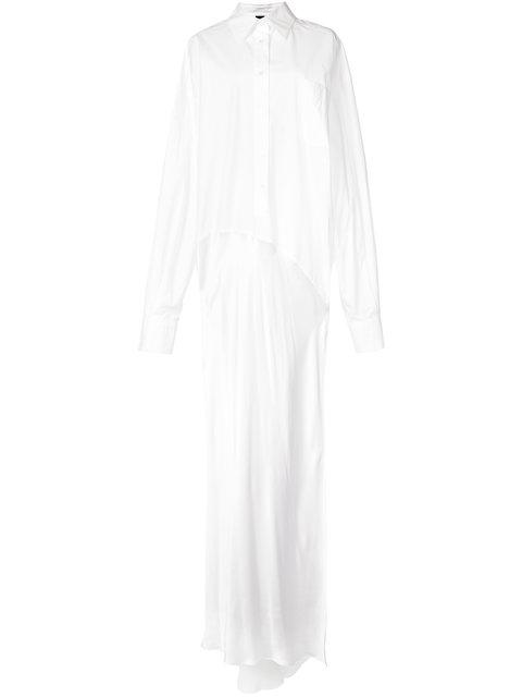 Vera Wang Side Slit Maxi Shirt Gown - Farfetch