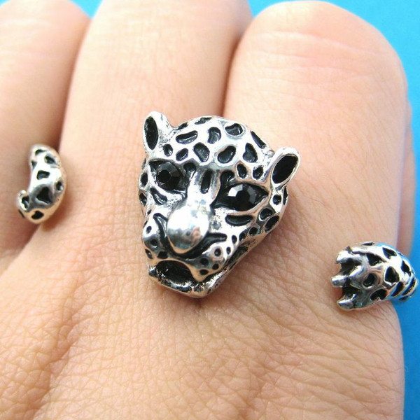 Leopard Tiger Adjustable Double Finger Animal Ring in Silver | DOTOLY