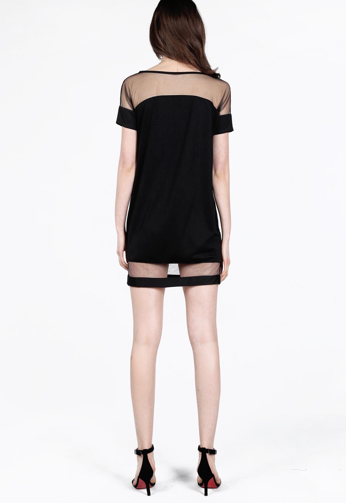 robe lâche contrastée en Mesh Yoke -Noir