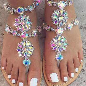 shoes sandals jewels rainbow iridescent rhinestones flat sandals rainbow sandals