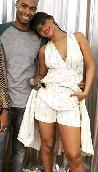 dress shorts stripes rihanna hat wrap dress