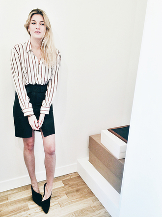 camille over the rainbow blogger striped shirt slit skirt