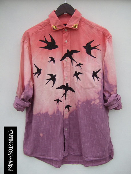 shirt swallow print swallow birds print tie dye dip dyed pink dress grunge studs tappingtonandwish