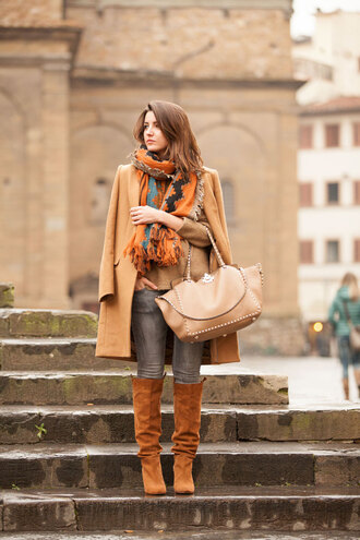 lovely pepa blogger scarf camel coat suede boots leather bag coat shoes bag jeans jewels