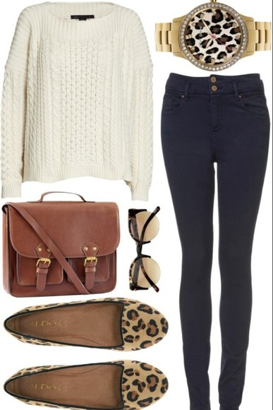 white sweater bag jeans high waisted jeans leopard print watch brown bag leopard sunglasses leopard watch leopard flats
