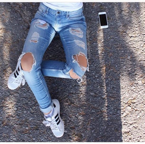 jeans ripped jeans boyfriend jeans cardigan