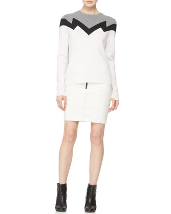A.L.C. Daniel Zigzag Knit Sweater & Maya Zip Leather Skirt - Neiman Marcus