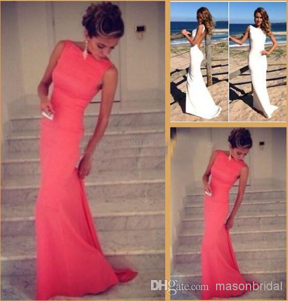 2014 coral prom dresses vintage bateau high neck evening dresses