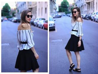 fashion quite blogger off the shoulder stripes black skirt sandals