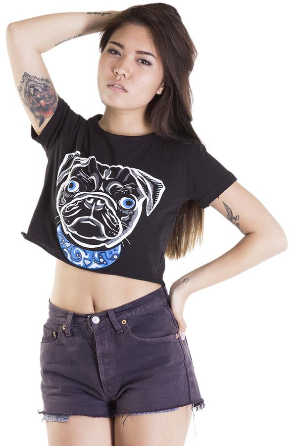 t-shirt pug crop crop tops t-shirt black t shirt summer xirl