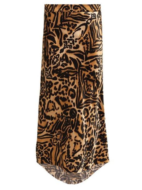 Raey - Tiger Print Bias Godet Silk Satin Slip Midi Skirt - Womens - Brown Multi
