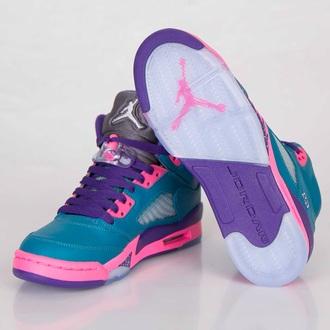 shoes pink putple jordans cute