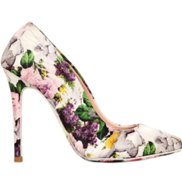 shoes floral spring fashion pumps high heels floral heels