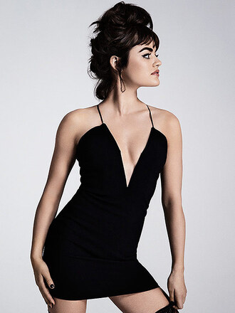 dress summer dress all black everything lucy hale cocktail dress party dress