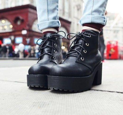 New Women's Black Punk Lace Up Chunky Platform Heels Platform Ankle Boots Shoes | eBay