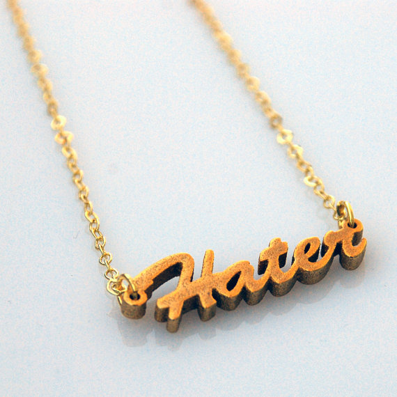 Hater script necklace  24k gold plated par senesense sur etsy