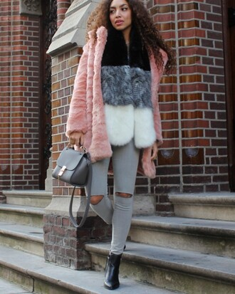 from hats to heels blogger coat jeans top bag scarf shoes jewels pink coat