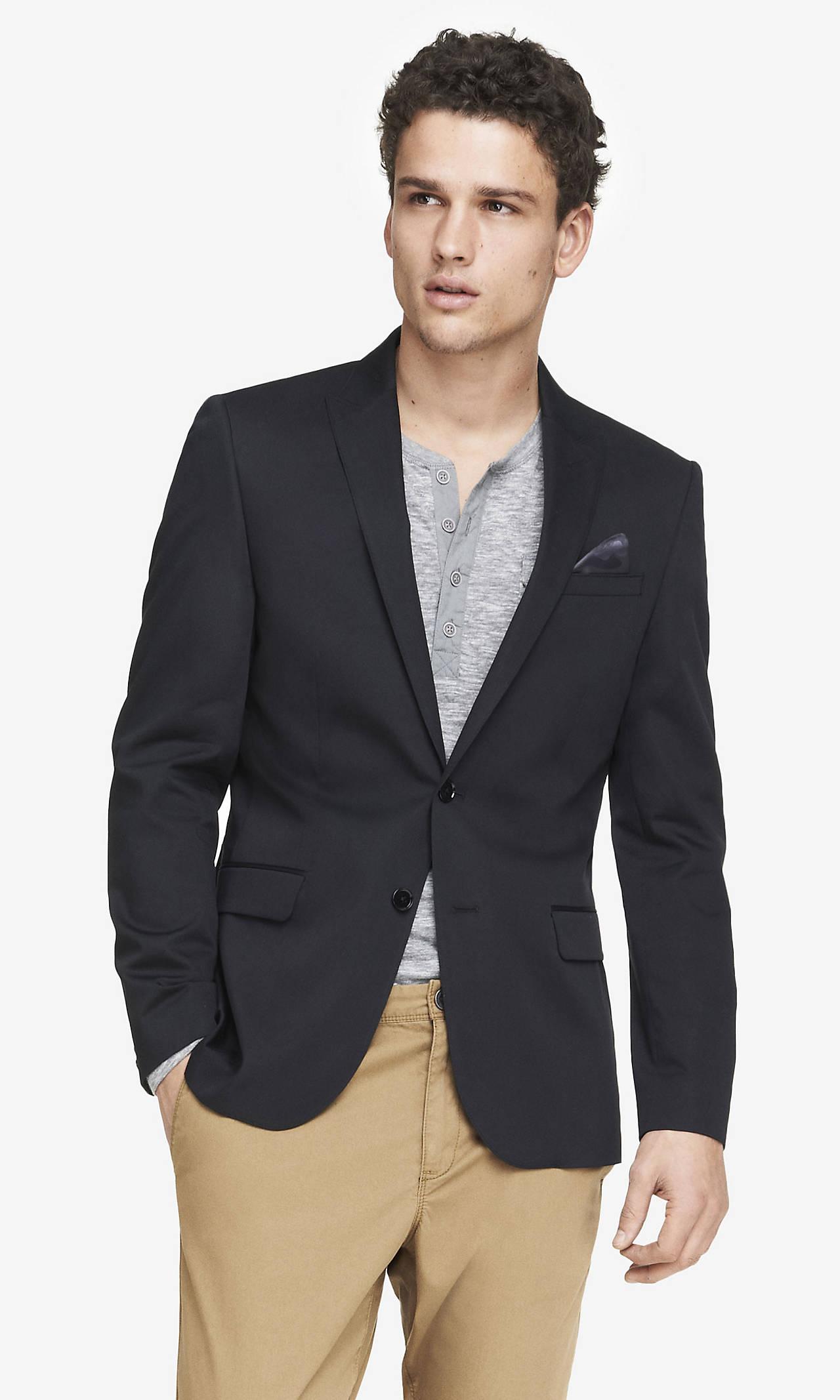Cotton sateen peak lapel blazer from express