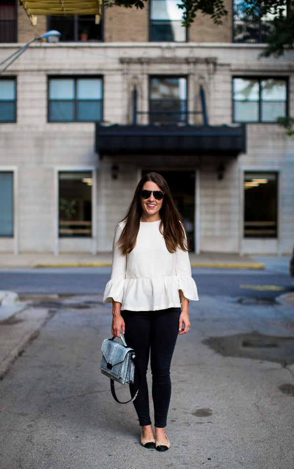 sequins and stripes blogger top jeans bag sunglasses bell sleeves peplum top peplum white top black top ballet flats flats spring outfits