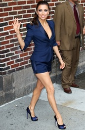 jacket,navy blue jacket,navy blue shorts,satin,eva longoria,blazer,All navy blue outfit,All blue outfit,celebrity,blue blazer,shorts,blue shorts,peep toe pumps,pumps,blue pumps,celebrity style