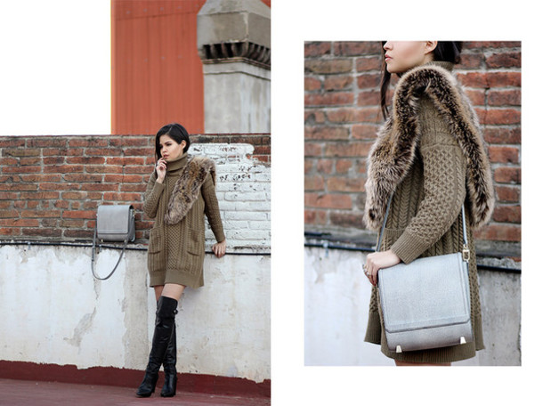 fake leather blogger dress knitted dress sweater dress grey bag bag sweater jewels shoes