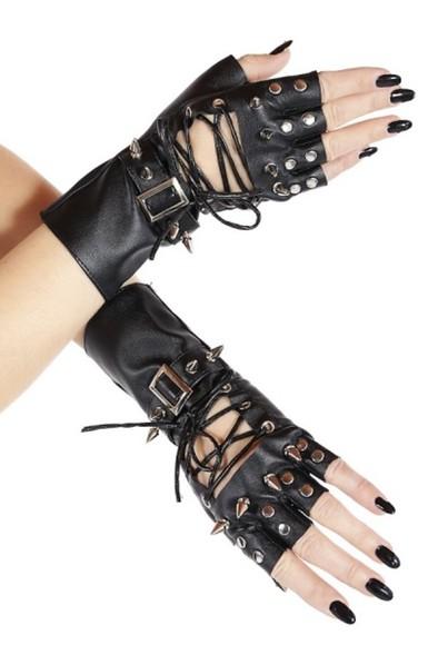 spikes leather gloves spiked gloves biker biker style gothic rocker rocker chick nieten pvc fetish black metal
