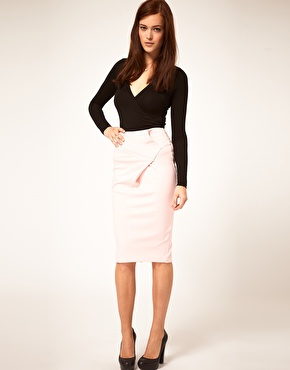 ASOS Sexy Origami Ponti Pencil Skirt at ASOS