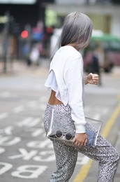 hair dye,grey/purple,clutch,transparennt clutch,low back,ruffled top,printed pants,cropped sweater,white sweater,sweater,crop tops,long sleeves,cut-out