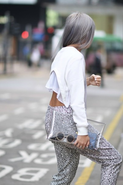 hair dye grey/purple clutch transparennt clutch low back ruffled top printed pants cropped sweater white sweater sweater crop tops long sleeves cut-out