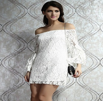 dress white lace dress mini dress long sleeves vintage dress bride dresses