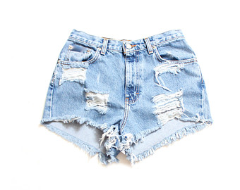 Destroyed ripped trashy distress daisy dukes custom made high waist shorts s m l