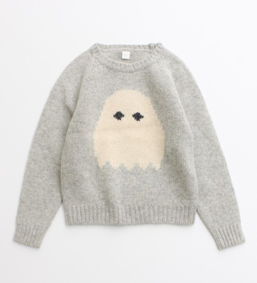pink cute pale pink sweater pale grunge grey knitted sweater pacman