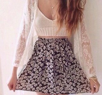 cardigan white cardigan beautiful pretty necklace style skirt fashion flowers top crop tops white crop tops summer top summer jewels flowers skirt