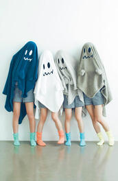 sweater,ghost,cape,hoodie,face,poncho,halloween,hat,blanket,home accessory,blancket,coat,crazy,white,cute,lovely,tumblr,smiley,love,scary,grey