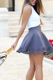 skirt,celebrity,clothes,tank top,blue,white dress,gray skirt,skater skirt,skirt cutout,top,high waisted,grey,floral skater skirt,floral,style,fashion,shirt,jeans,love