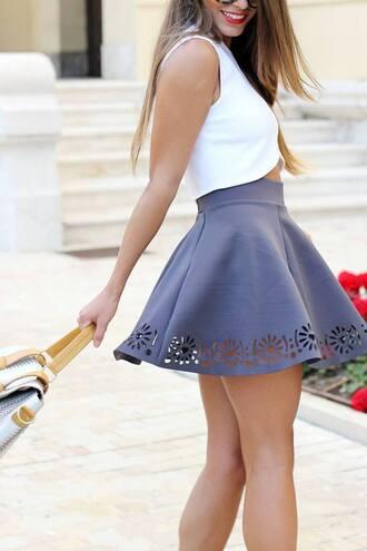 skirt celebrity clothes tank top blue white dress gray skirt skater skirt skirt cutout top high waisted grey floral skater skirt floral style fashion shirt jeans love