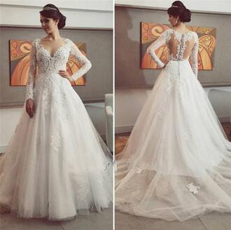 dress sheer wedding dresses full long sleeves wedding dresses vintage lace wedding dress elegant wedding dress muslim wedding dresses arabic wedding dress 2016 wedding dresses wedding dress wedding wedding clothes white white dress maxi long tulle wedding dress princess wedding dresses cute ball gown dress vintage floor length dress dressofgirl