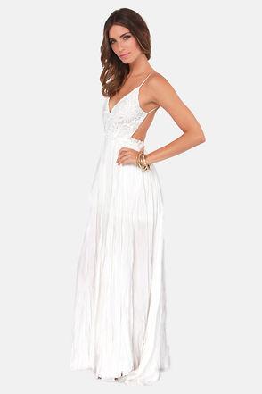 Pretty Ivory Dress - Crocheted Dress - Maxi Dress - $107.00