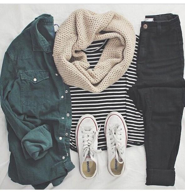 jeans blouse coat olive green