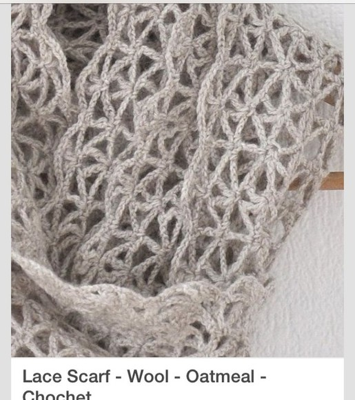 wool grey scarf crochet