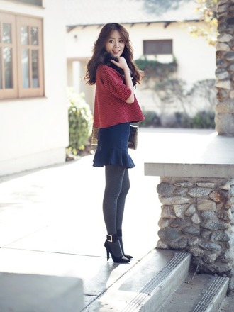jullianne blogger red sweater ruffle blue skirt