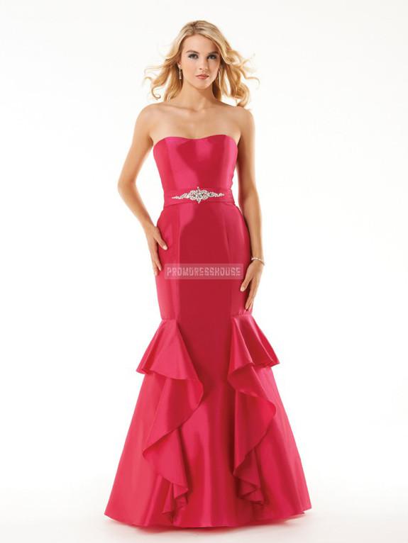 Strapless Red Taffeta Trumpet Ruffles Beading Prom Dress - Promdresshouse.com