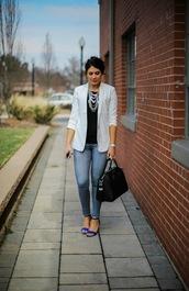 life & messy hair,blogger,jeans,bag,blazer,grey blazer,necklace,black leather bag,black top,sandals,spring outfits