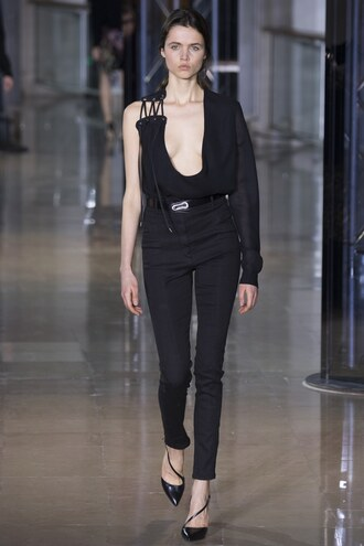jumpsuit asymmetrical plunge v neck runway paris fashion week 2016 pumps fashion week 2016 pants black model anthony vaccarello asymmetrical pumps