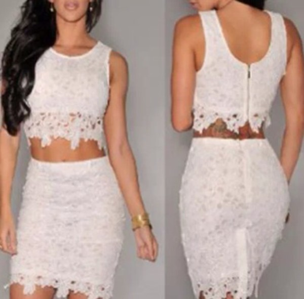 dress cream lace two piece