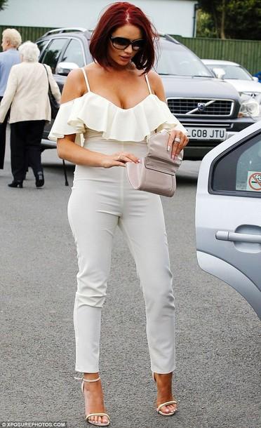 dress white jumpsuit ruffle